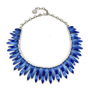 Vintage Lisner Blue Thermoset Flame Wave Necklace